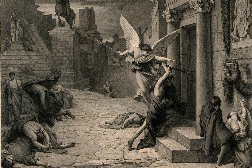 1024px The angel of death striking a door during the plague of Rome Wellcome V0010664