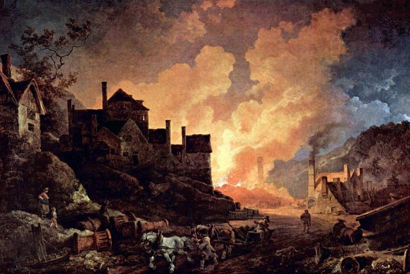 Coalbrookdale de noche pintura al oleo del artista ingles de origen frances Philip James de Loutherbourg