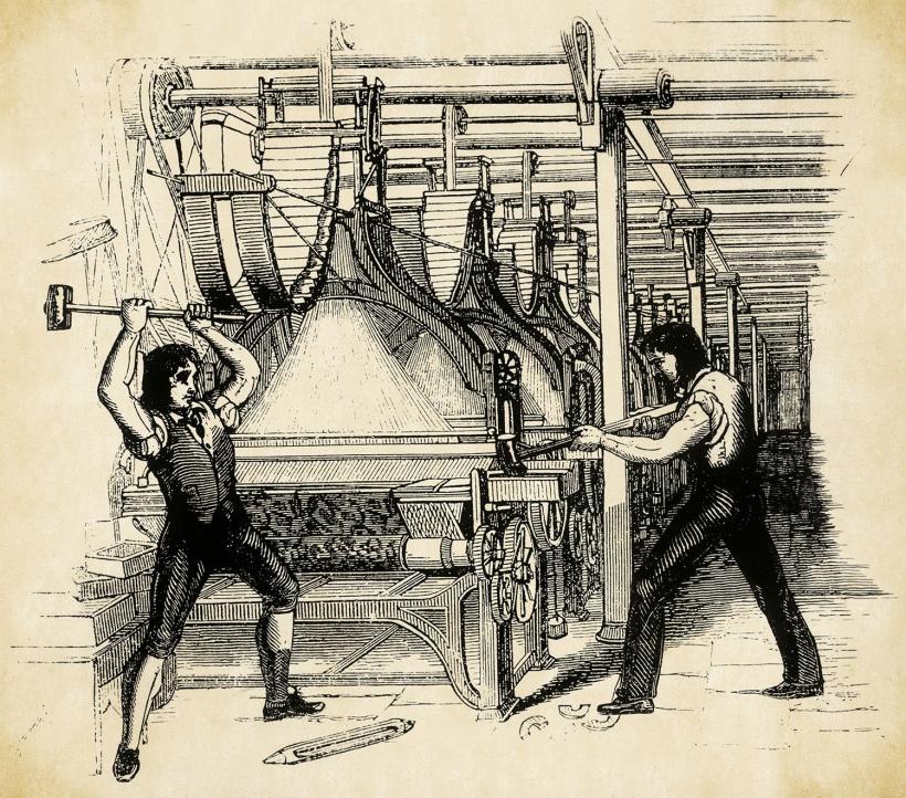 Luditas destruyendo un telar a vapor en 1812