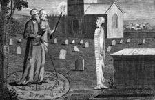 Edward Kelly y John Dee invocando un espíritu, por Ebenezer Sibly. (DP)