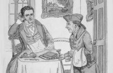 Washington Irving con su personaje Diedrich Knickerbocker, proagonista de la primera campaña de marketing viral de la historia. Imagen: Cordon Press.