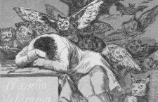 Detalle de «El sueño de la razón produce monstruos», grabado n.º 43 de los Caprichos de Goya.