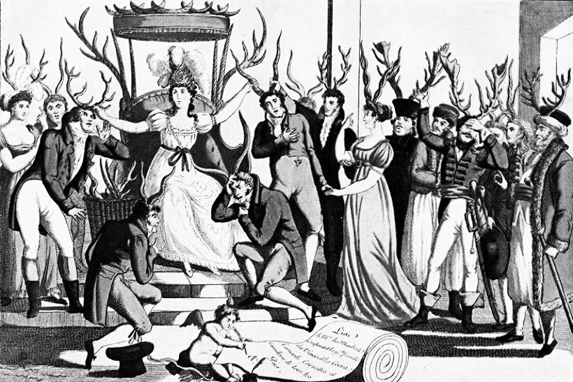 Celebración de la Orden de los Cornudos ante el trono de su majestad, la Infidelidad (1815). DP.